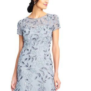 Adrianna Papell Floral-Beaded Gown Blue Heather